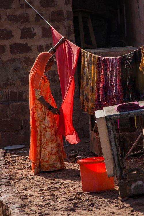 Sari laundry day in Rajasthan